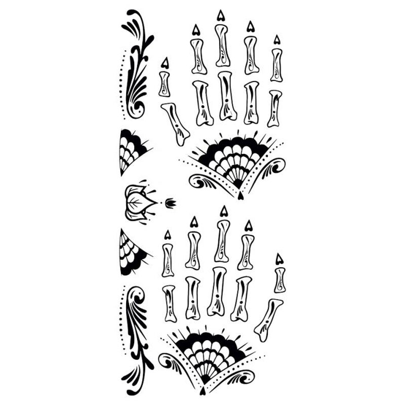 Day of the Dead Fancy Black and White Hand Temporary Tattoo image number null