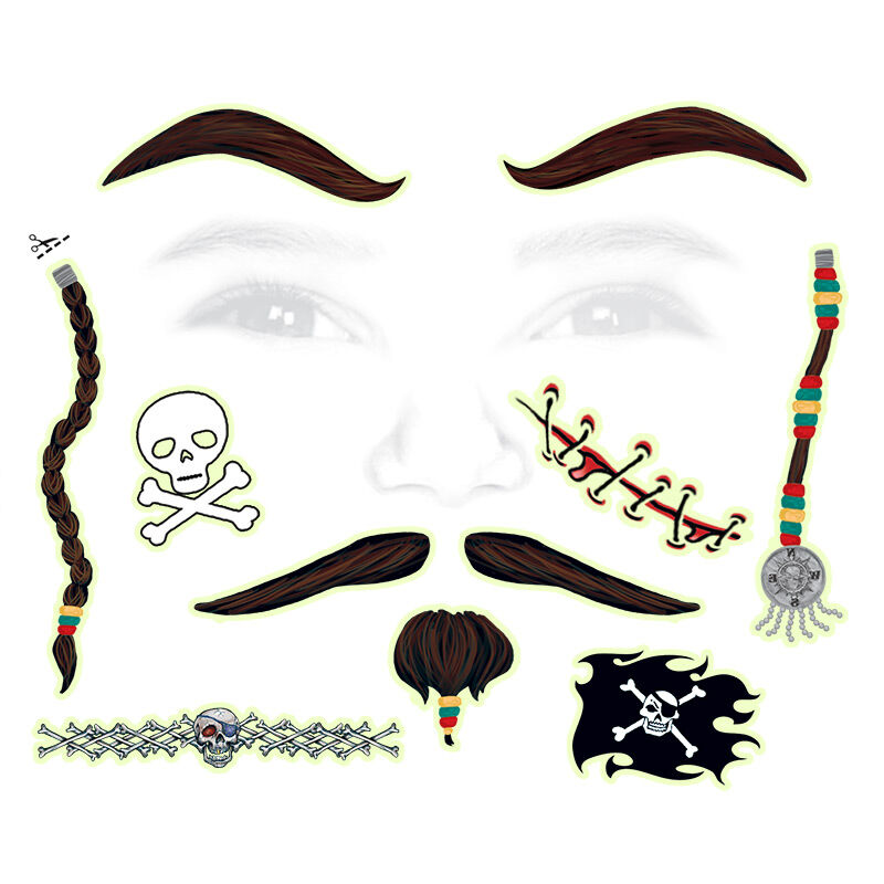 Pirate Kids Costume Tattoo image number null