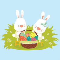 Bunnies with Easter Basket Temporary Tattoo