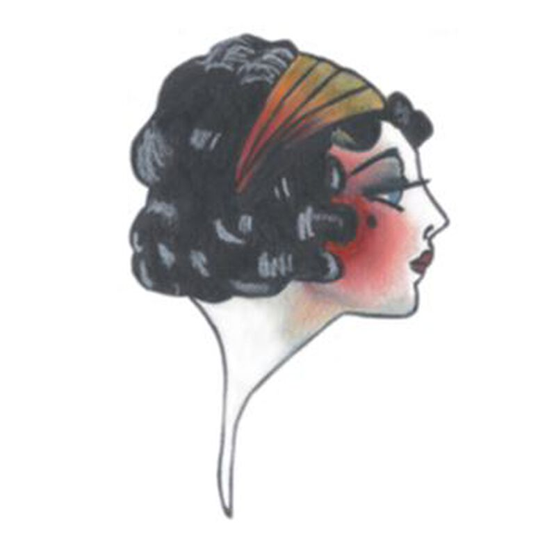 Vintage Face Temporary Tattoo image number null