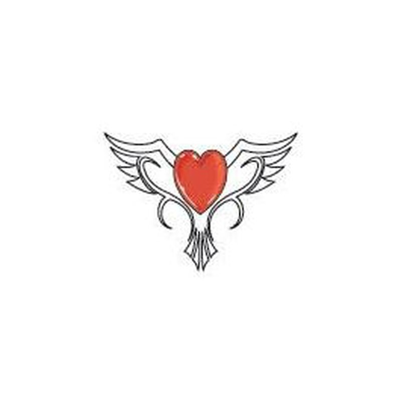 Glow in the Dark Heart with Wings Temporary Tattoo image number null