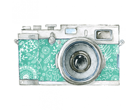 Retro Watercolor Camera Temporary Tattoo