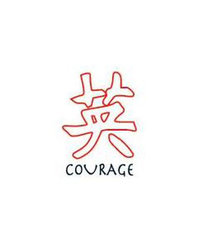 Glow in the Dark Courage Kanji Temporary Tattoo image number null