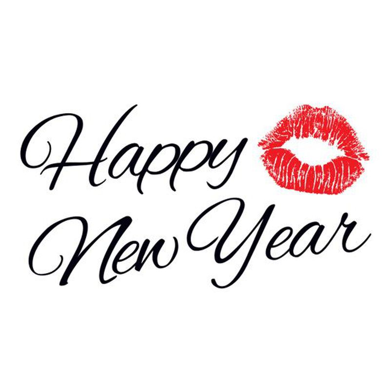 Happy New Year Smooch Temporary Tattoo image number null