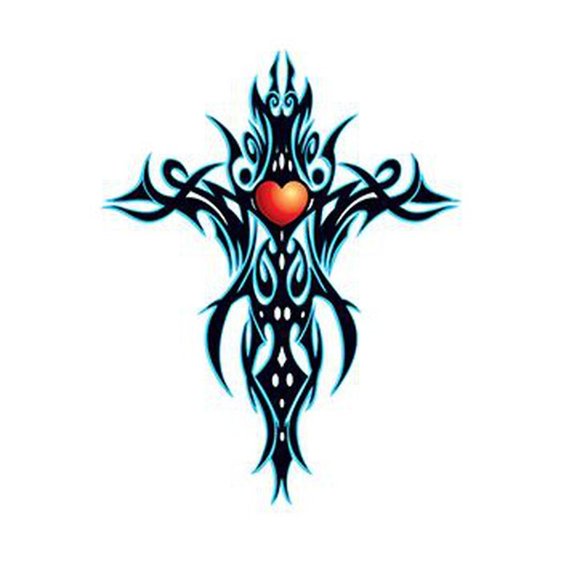 Tribal Blue Cross Temporary Tattoo image number null