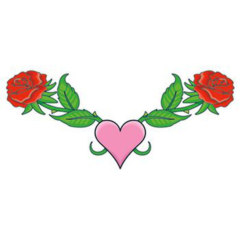 Roses and Heart Lower Back Temporary Tattoo image number null