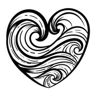 Wave Heart Temporary Tattoo
