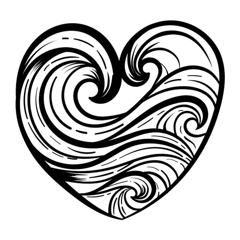 WAVE HEART TEMPORARY TATTOO image number null