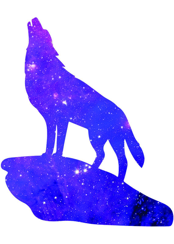 Galaxy Wolf Temporary Tattoo image number null