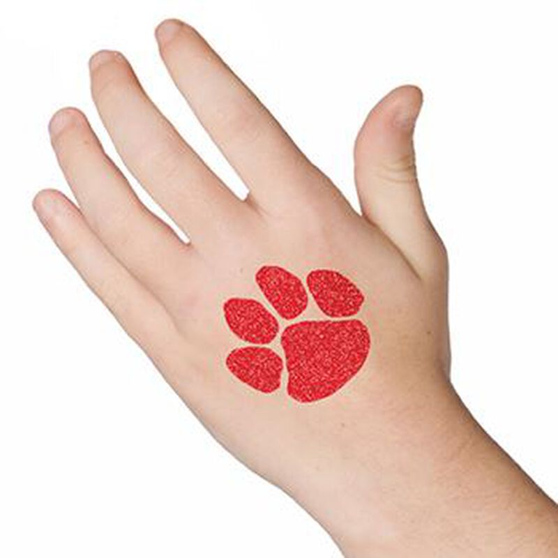 Glitter Red Paw Print Temporary Tattoo image number null