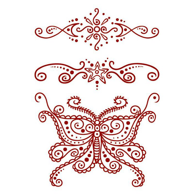 Henna: Red Butterfly Temporary Tattoo image number null