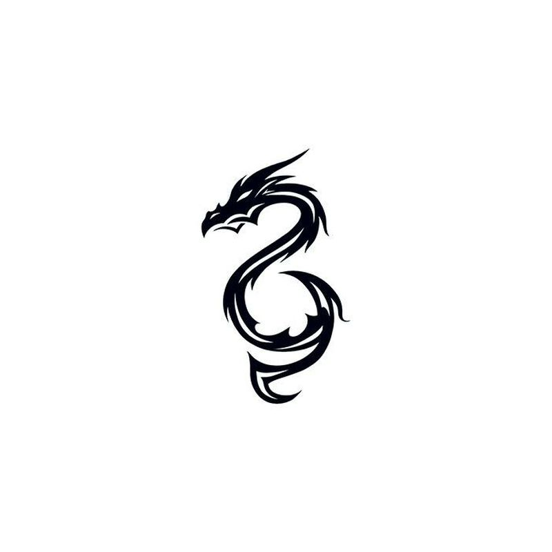 Black Dragon Temporary Tattoo image number null