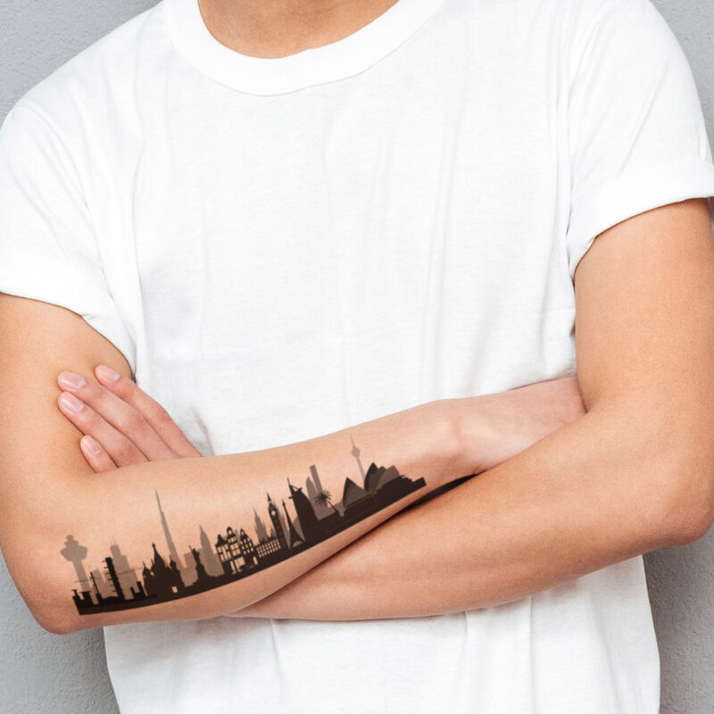 City Scape with Reveal Glow-in-the-dark Fireworks Temporary Tattoo On Skin image number null