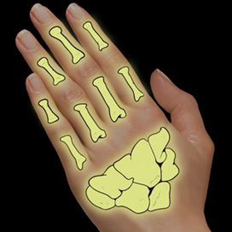 Glow in the Dark Day of the Dead Hands Temporary Tattoo image number null