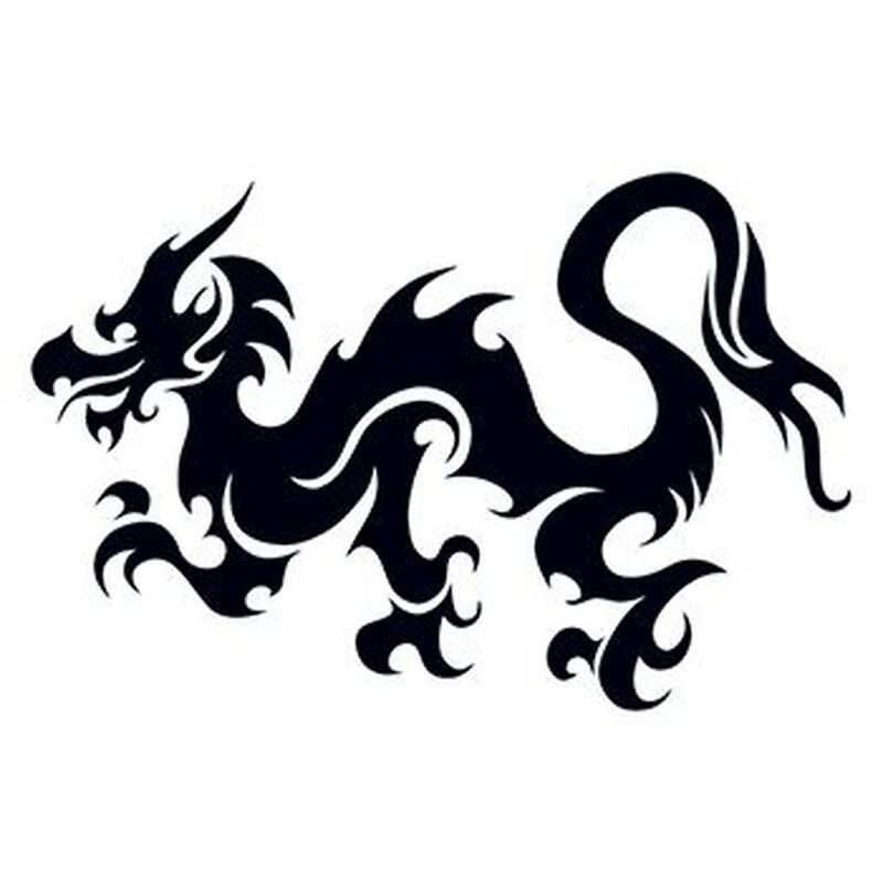 Tribal Bold Dragon Temporary Tattoo image number null