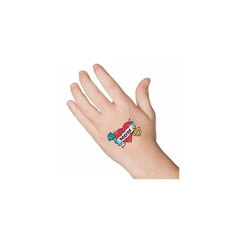 Heart with Mom Banner Temporary Tattoo image number null