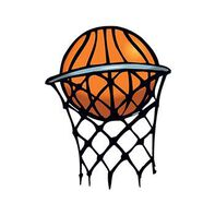 Small Basketball in Hoop Temporary Tattoo