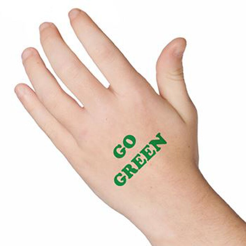 Go Green Text Temporary Tattoo image number null