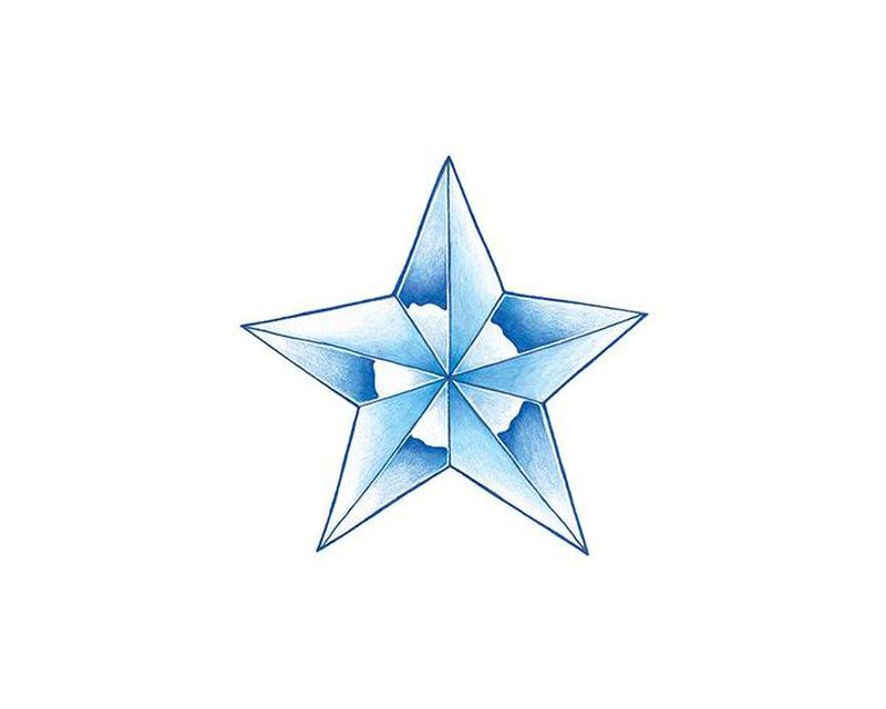 Glow in the Dark Blue Star Temporary Tattoo image number null