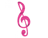 Magenta Treble Clef Music Note Temporary Tattoo