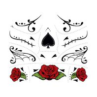 Day of the Dead Red Rose Accessories Temporary Tattoo