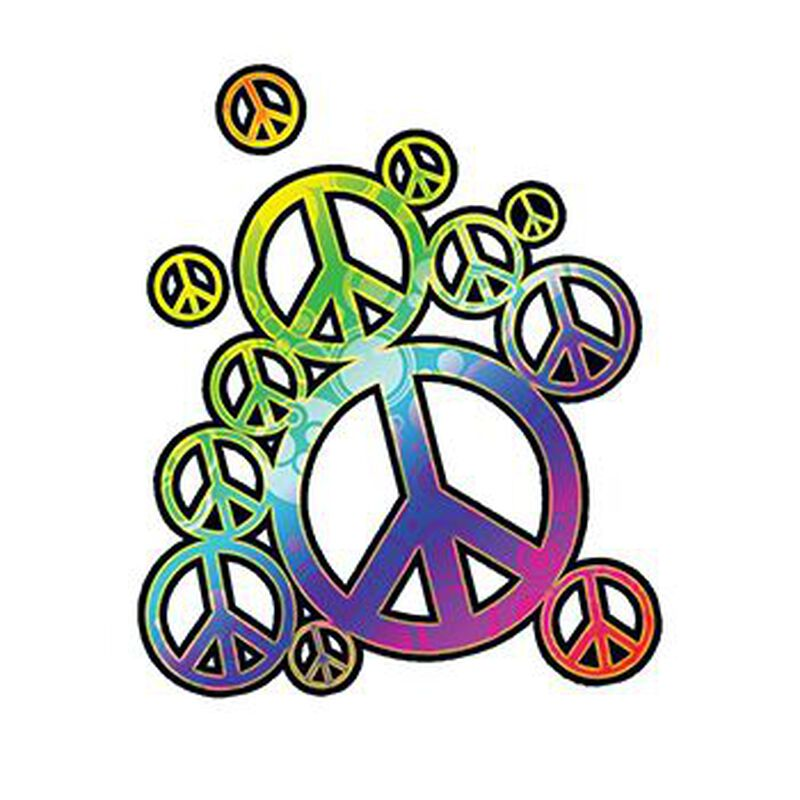 Rainbow Peace Signs Temporary Tattoo image number null