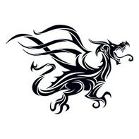 Black Tribal Dragon Temporary Tattoo