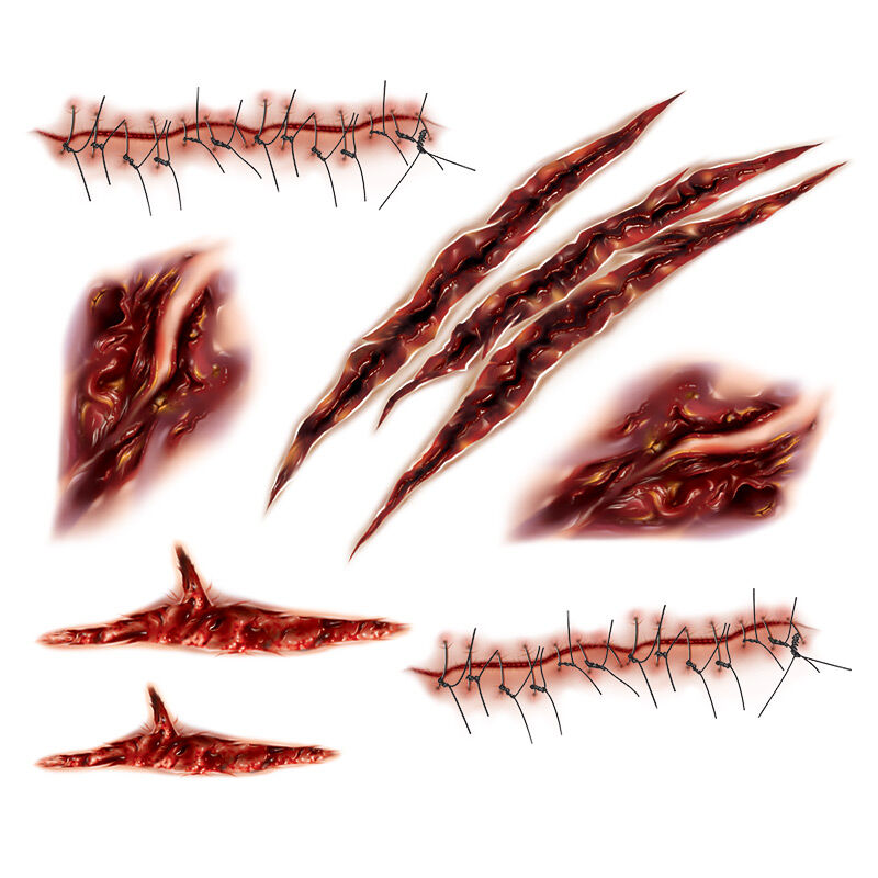 Gashes & Stitches Wounds Costume Tattoo image number null