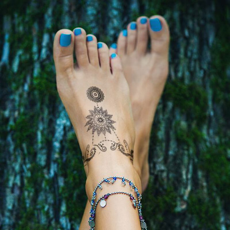 Bohemian Foot Jewelry Temporary Tattoo image number null