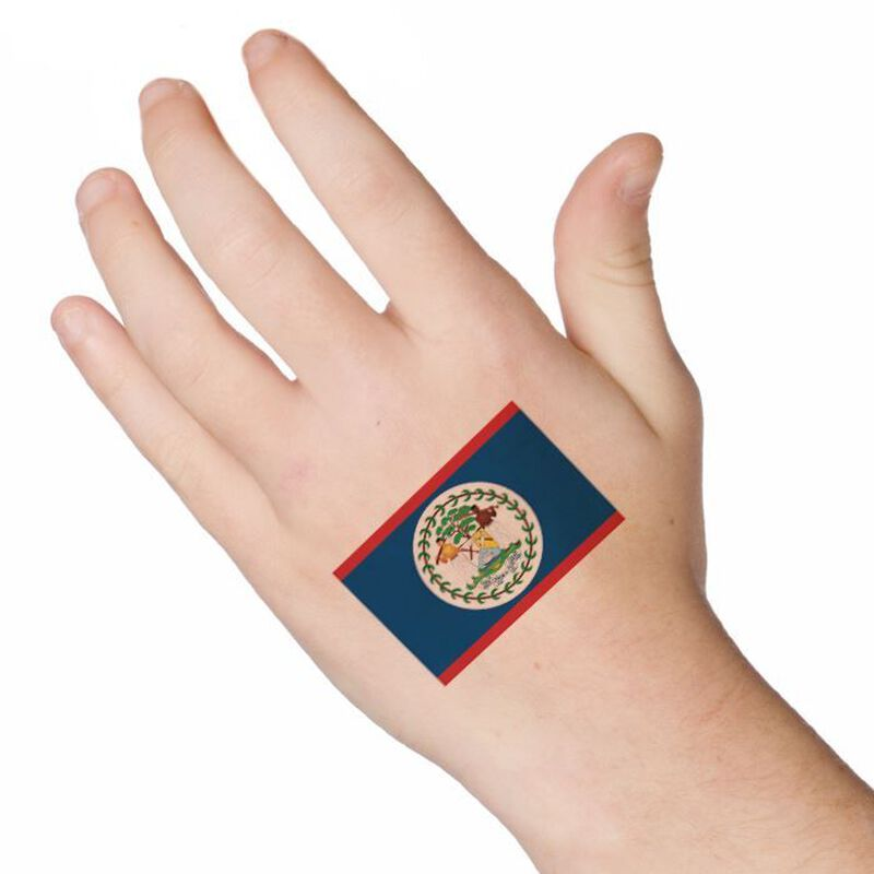 Belize Flag Temporary Tattoo image number null