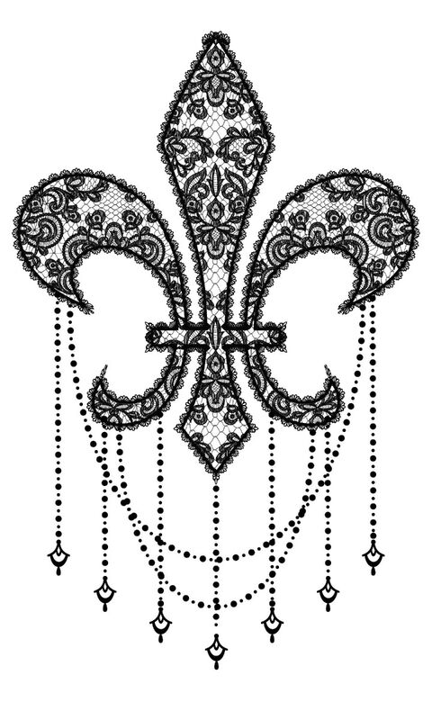 Lace Fleur de Lis Temporary Tattoo image number null