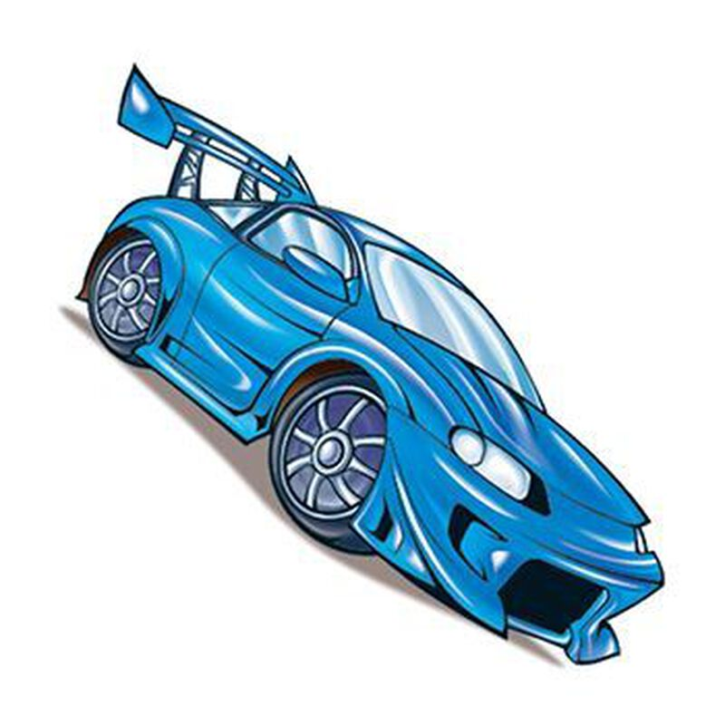 Blue Race Car Temporary Tattoo image number null