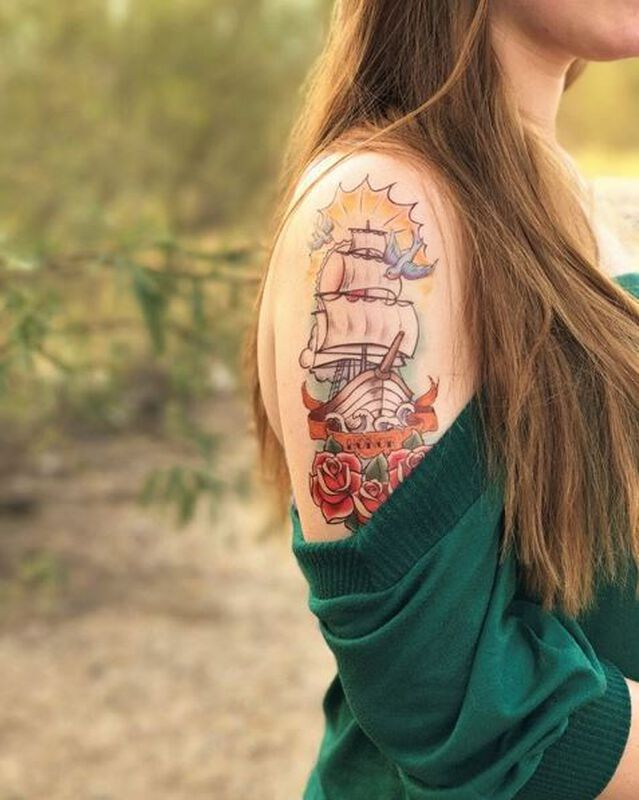 Nautical Sailboat Sleeve Temporary Tattoo image number null