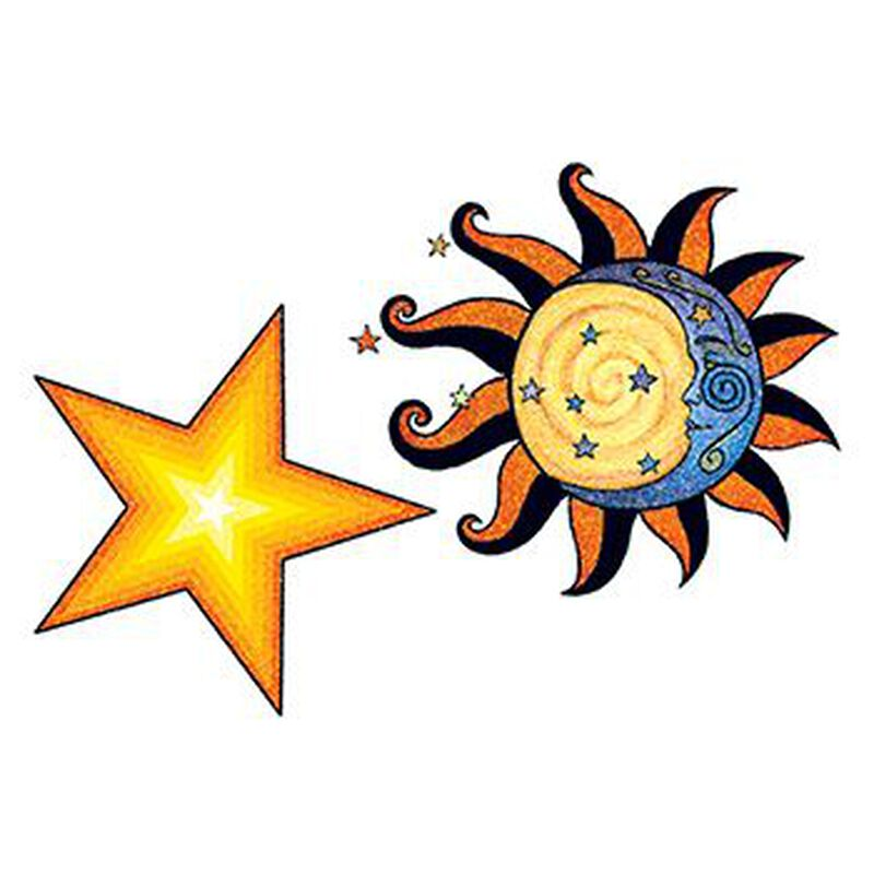 Glitter Sun and Stars Temporary Tattoo image number null