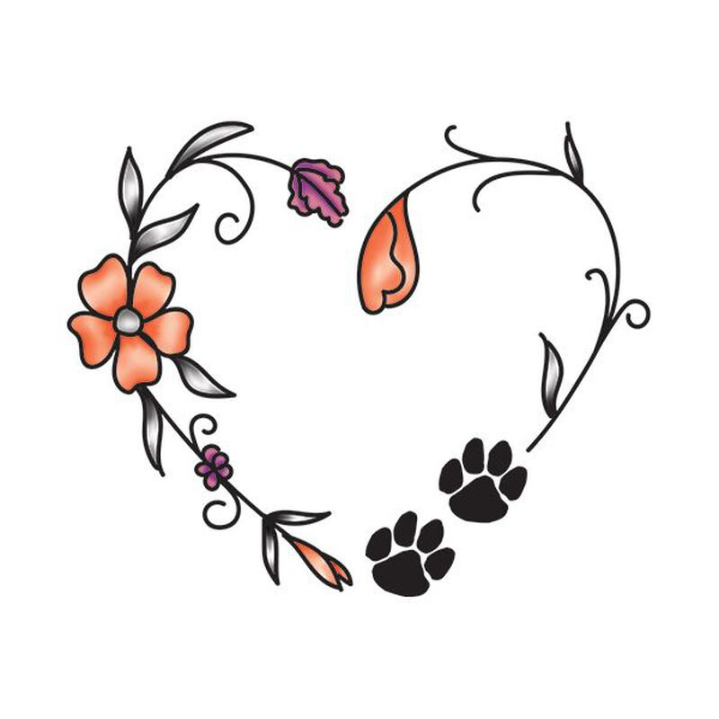 Floral Paw Heart Temporary Tattoo image number null