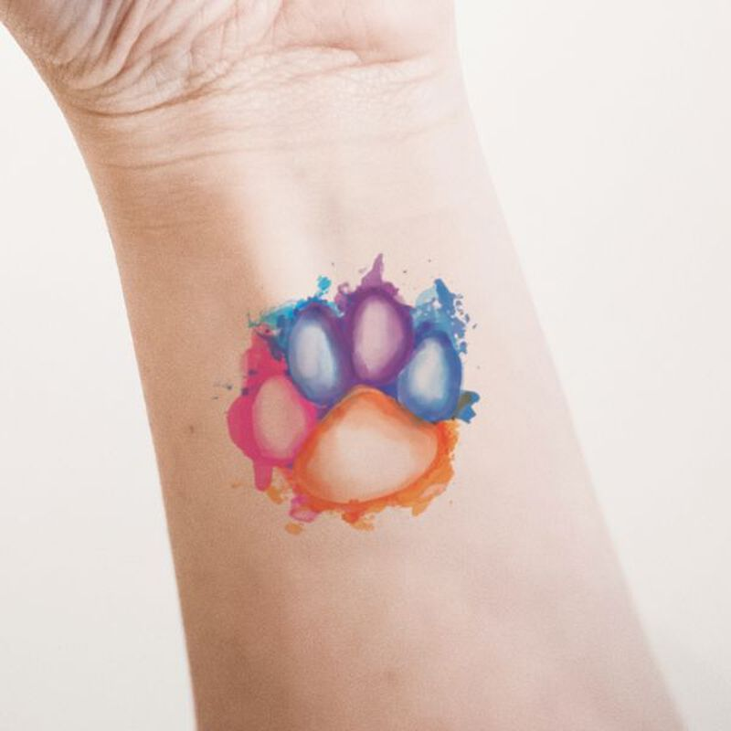Watercolor Paw Print Temporary Tattoo image number null