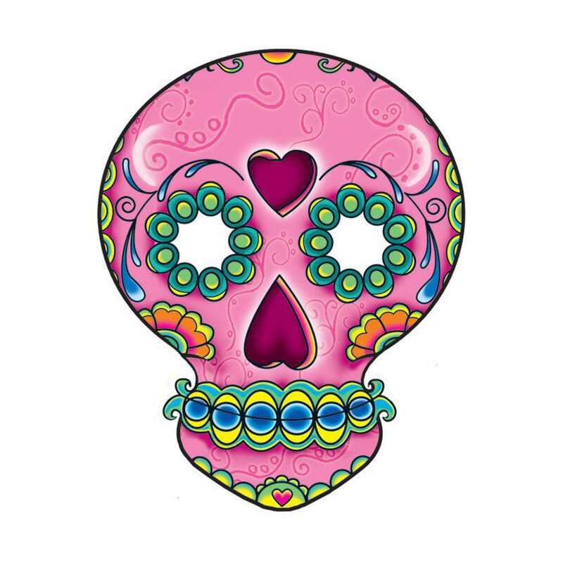 Pink Skull Day of the Dead Temporary Tattoo image number null