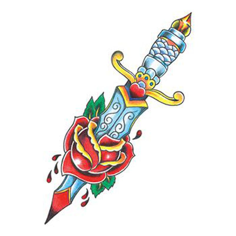 Vintage Dagger with Flowers Temporary Tattoo image number null