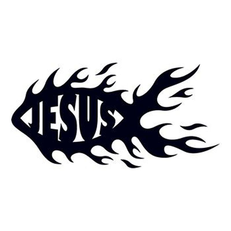 Flaming Jesus Fish Temporary Tattoo image number null