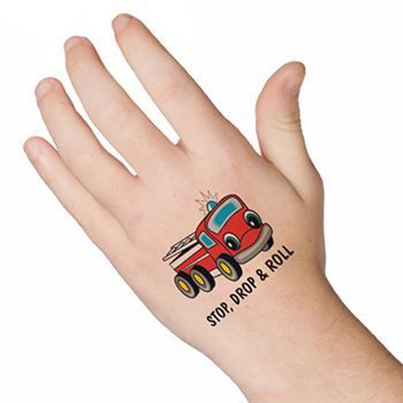 Stop Drop & Roll Temporary Tattoo image number null