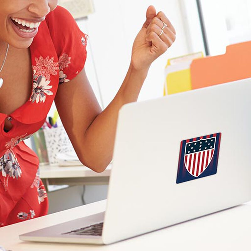 team usa shield sticker applied on laptop image number null