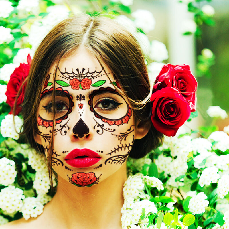 Day of the Dead: Roses Face Temporary Tattoo image number null