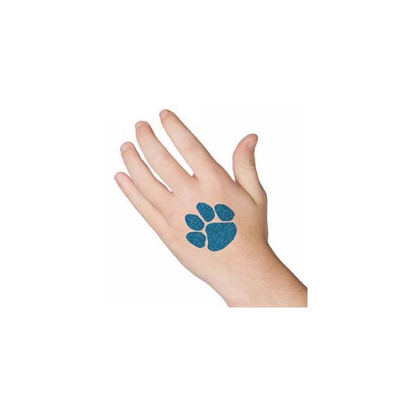 Glitter Blue Paw Print Temporary Tattoo image number null