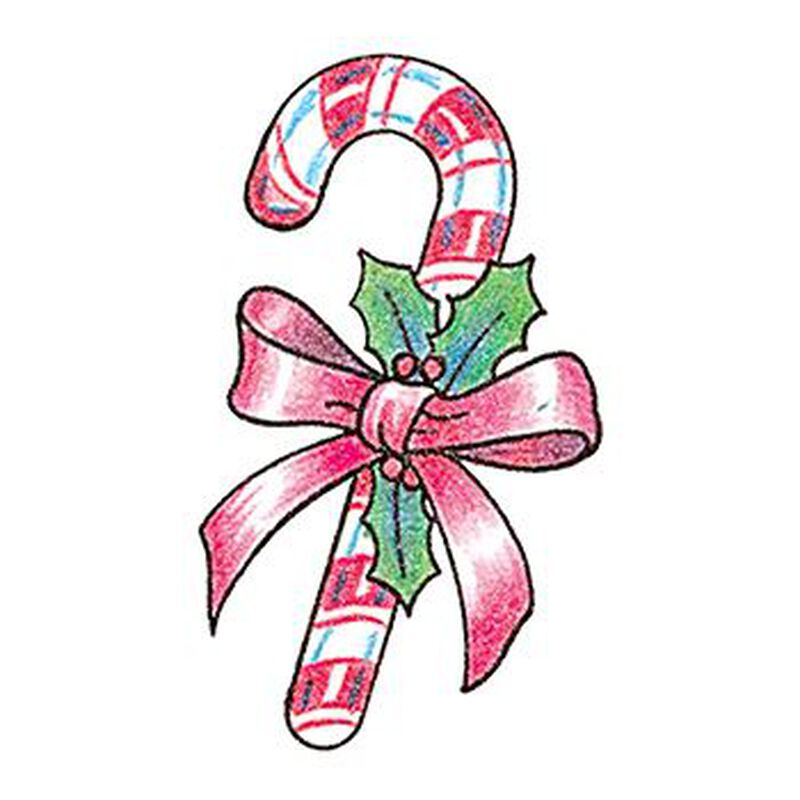 Glitter Candy Cane with Ribbon Temporary Tattoo image number null