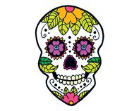 Sunflower Skull Day of the Dead Temporary Tattoo