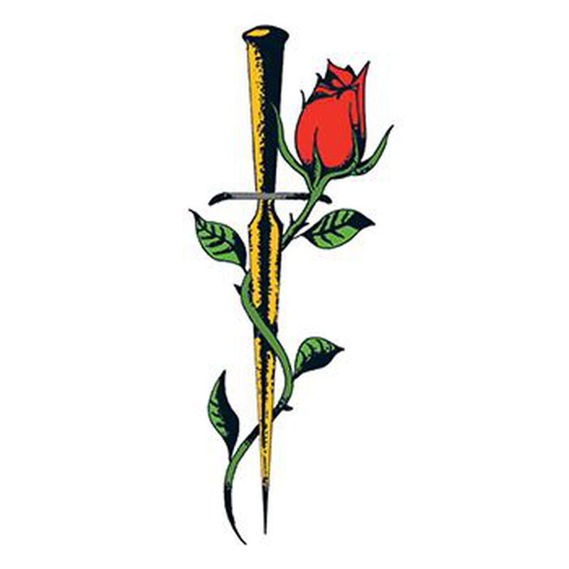 Traditional Rose with Dagger Temporary Tattoo image number null