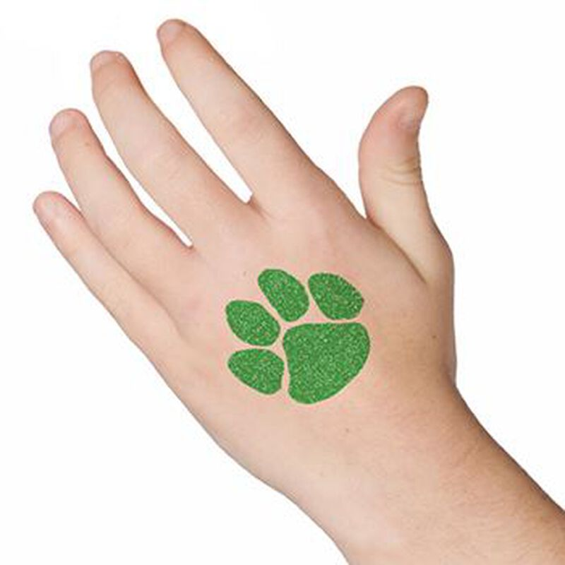 Glitter Green Paw Print Temporary Tattoo image number null