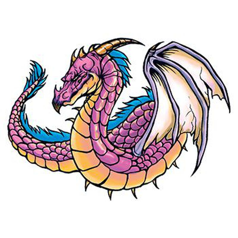 Traditional Purple Dragon Temporary Tattoo image number null