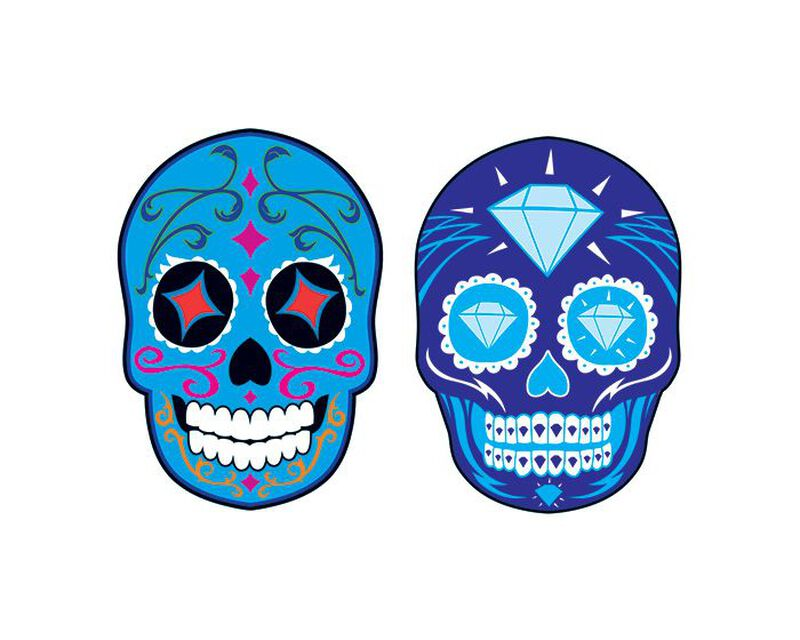 Blue Jewel Skulls Day of the Dead Temporary Tattoo image number null