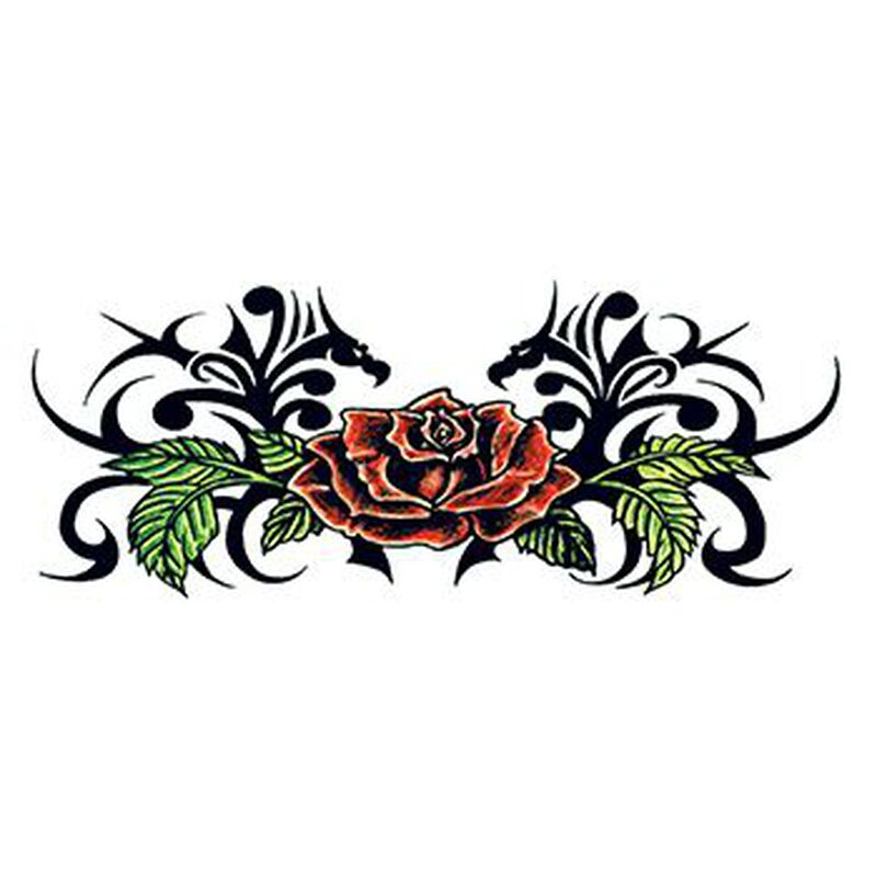 Tribal Small Rose Back Temporary Tattoo image number null